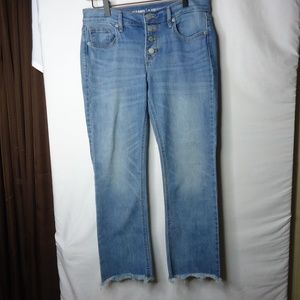 Old Navy Button Fly Mid Rise Raw Hem Crop Jeans